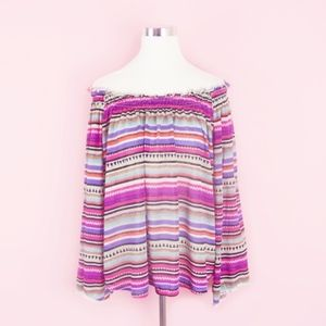 New Directions Off the Shoulder Pom Pom Blouse